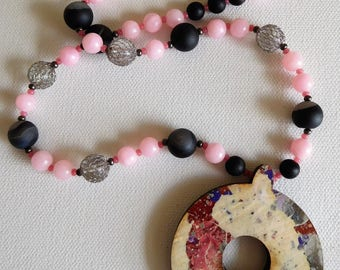 Candy Floss Beaded Necklace Walnut Pendant