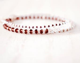 garnet with Herkimer diamond crystals beaded bracelet. garnet gemstone & Herkimer diamond quartz bracelet. crystal quartz garnet jewelry