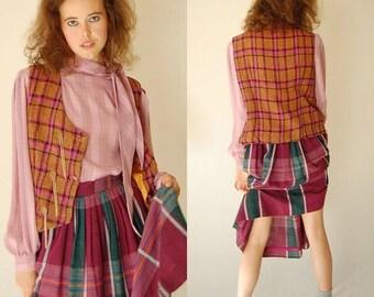 SALE 25% off sundays Draped Plaid Waistcoat Vintage 60s Tan Wool Preppy Plaid Oversized Draped Mod Double Button Vest (m l)