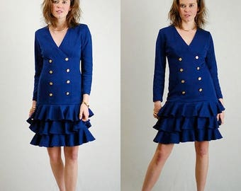 SALE 25% off sundays Sailor Dress Vintage 80s Navy Blue Sweater Knit Nautical Sailor Drop Waist Dress (s m)