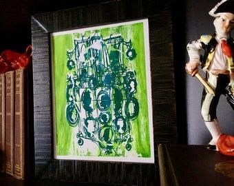 CAMEOS #051   ornate screenprinted nursery art in bright green by Kathryn DiLego (8x10)