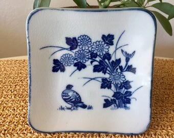 Blue and White Bird Dish