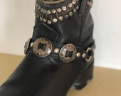 Vintage black leather and silver concho boot straps