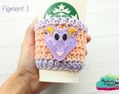 Coffee Cup Cozy { Figment } Pop dragon figurine, Tsum Tsum Inspired knit mug sweater, crochet cup sleeve, mug starbucks water bottle