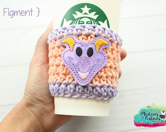 Coffee Cup Cozy { Figment } Pop dragon figurine, Tsum Tsum Inspired knit mug sweater, crochet cup sleeve, mug starbucks water bottle