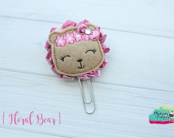 Planner Clip { Floral Bear } roses pink, teddy shabby, zoo, animal Paper Clips, Stationary, Planner Supplies, kikkik, happy planner