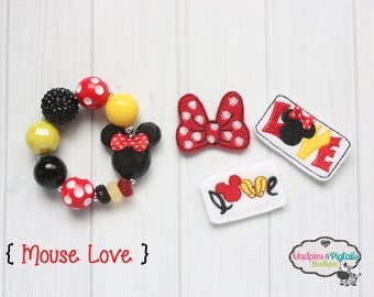 Baby girl Hair Clips or Bracelet { Mouse Love } polkadots, first birthday, minnie mouse party favors, cake smash, photography prop