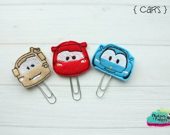 Planner Clip or Hair Clippies { Cars Movie } tow truck, race car, Summer Paper Clips, Stationary, Birthday party favors, kikkik