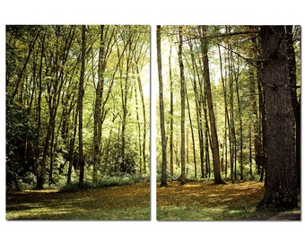 North Carolina Forest Canvas Diptych, 2 Panel Art, LARGE, Ready to Hang