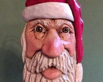 Santa Christmas  Ornament - Hand Carved