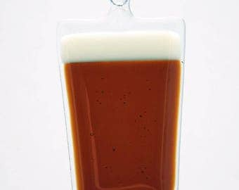 Glassworks Northwest - Pint of Dark Beer - Fused Glass Art Ornament