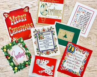 8 Vintage Words and Phrases Christmas Cards, Christmas Verses, 1940s-1960s Christmas Words Cards: Set #1