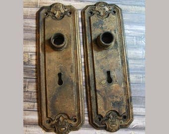 Vintage Distressed ESCUTCHEON Plates Pair of Old DOOR Hardware- Ornate Salvaged Door Knob Plate- Back Plate