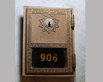 Vintage POST OFFICE Box Door- With Graphic Numbers- 906 Industrial Decor Bronze Colored with Glass Front- Postal Mail Box- H22