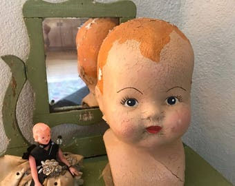 Large Antique Composition Doll Head Vintage Doll- Painted Features- Distressed Worn Patina- Oddity- Scary Doll Parts