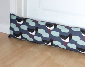 Draught Excluder Oystercatcher Bird Print Patterned Fabric Scandi Home Modern Interior Retro Style Kitchen Long UK
