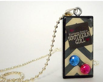 Southern Girl Chevron Collage Domino Necklace Pendant Reclaimed Mixed Media Art
