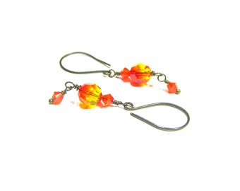 ON SALE Swarovski Crystal Dangle Drop Earrings Crystal Earrings Swarovski Earrings Fire Opal Earrings Popular Jewelry Gifts for Women