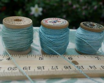 Silk Embroidery Thread Natural Dye on Vintage Wooden Spools Set of 3 Fresh Leaf Indigo Dye Light Blue Green Shades 20 Yards on Each Spool