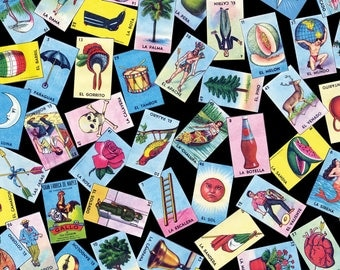 Loteria Fabric - Loteria Scatter By Jellymania - Loteria Cotton Fabric By The Yard With Spoonflower