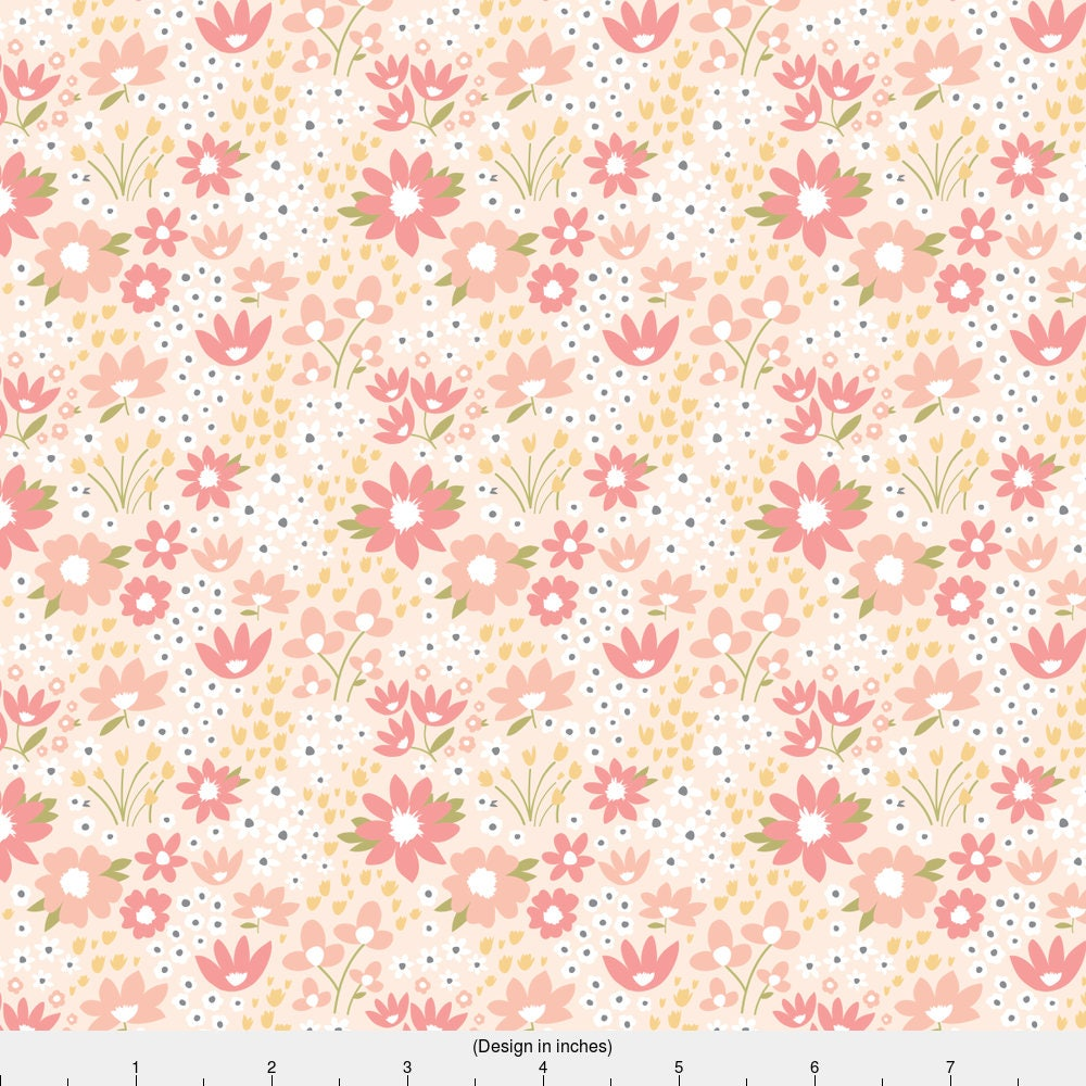 Floral fabric wildflower meadow in blush by sugarfresh for Cotton fabric by the yard