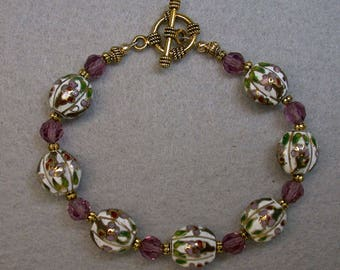 Vintage Chinese Cloisonne White Bead Bracelet, Vintage Amethyst Purple Crystal Beads, Gold Toggle Clasp