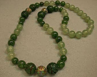 Vintage AAA Jade Bead Knotted Necklace,Vintage Serpentine,Vintage Chinese Champleve Gold Cloisonne Beads,Vintage Chinese RARE Green Cinnabar