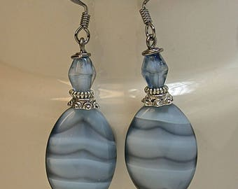 Vintage Italian Art Glass Blue Gray Striped Bead Dangle Drop Earrings,Vintage German Blue Givre Glass Beads, Silver Beads- GIFT WRAPPED