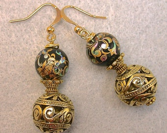 Vintage Japanese Tensha Bead Earrings Black Teal Iridescent, Vintage Bali Style Ornate Brass Bead,Dangle Drop Gold Ear Wires, - GIFT WRAPPED