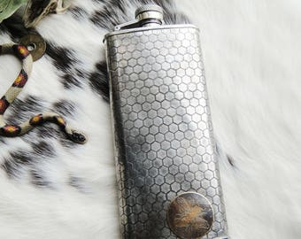 Bee Assorted Flasks with Honeycomb Design and Brass Etched Detail