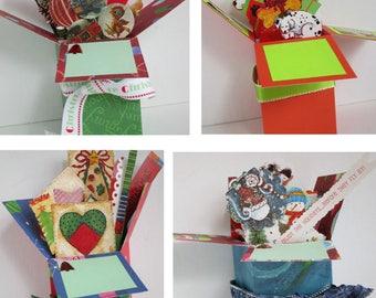 Handmade Christmas Holiday Pop up Exploding Box Card- just 2 Variations left-- Free ship USA