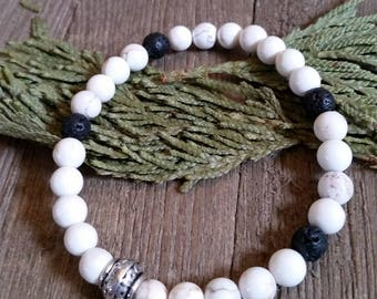 Aromatherapy Stretch Bracelet Natural Gemstone Lava Stone Essential Oil White Howlite Jewelry Bead