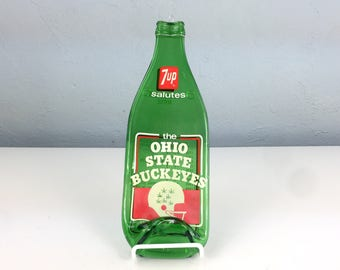 Vintage 7up Salutes The Ohio State Buckeyes Melted Bottle Spoon Rest, Melted Bottle Kitchen Decor, Antique Glass Bottle