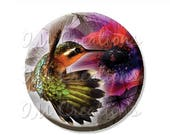 "20% OFF - Pocket Mirror, Magnet or Pinback Button - Wedding Favors, Party themes - 2.25""- Pretty Humming Bird MR431"