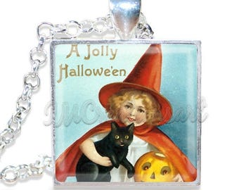 "20% OFF - Halloween Vintage Witch Black Cat 1"" Square Glass Pendant or with Necklace - SQ105"