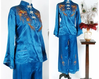 Vintage 1930s Loungewear - Fabulous Chinese Glowing 30s Loungewear Pajamas Set with Metallic Dragons