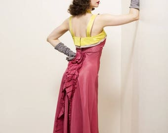 50% CLEARANCE Vintage 1930s Dress - Spring 2017 Lookbook - The Trellis Gown - Fuchsia Bias Cut Taffeta Late 30s Gown with Ruffles and Chartr