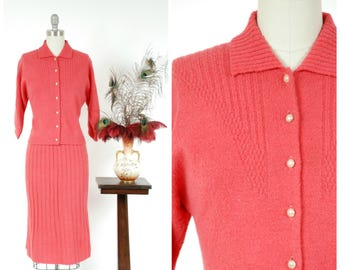 Vintage 1950s Sweater Set - Bold Coral Colored Wool Knit 50s Cardigan & Skirt Set with Detailed Cardigan and Ribbed Skirt