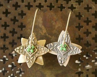 Sterling and Brass Spinner Earrings