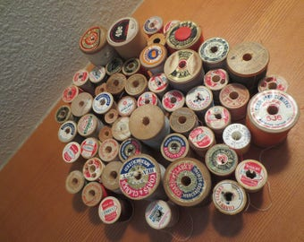 Lot of 55 Spools of Thread / All Wooden Spools / assorted spools / assorted sizes / assorted colors