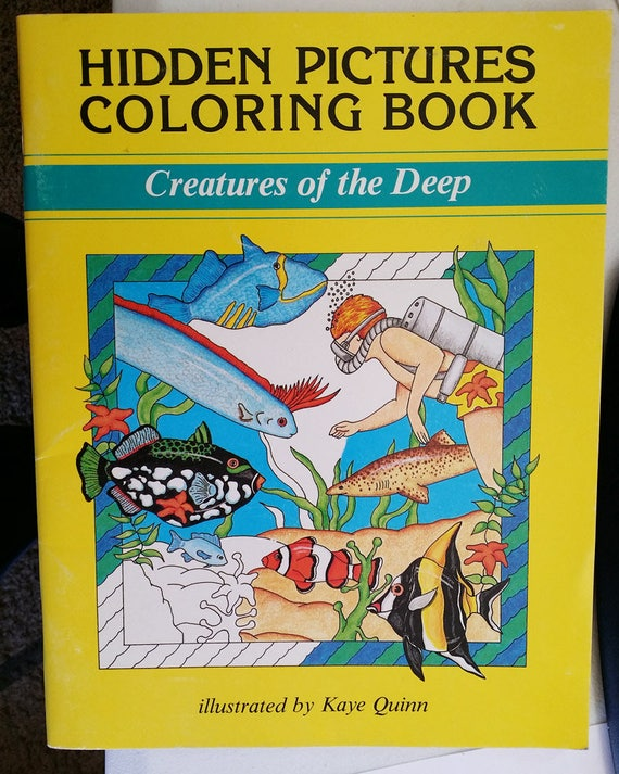 vintage childrens coloring book sealife animals creatures of the deep hidden pictures 1989