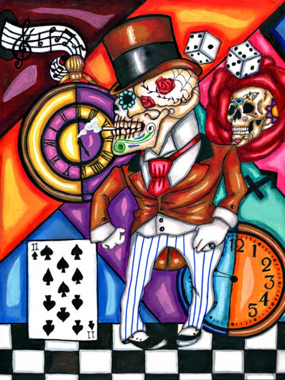 Skeleton Man original art print skull zoot suit Day Of The Dead dice clock top hat surreal goth artwork from original painting