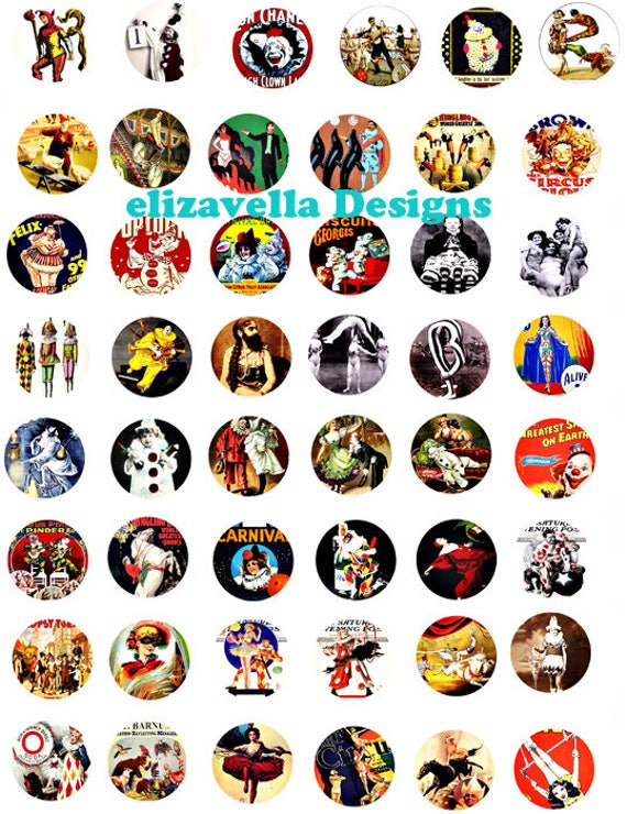 circus clowns acrobats harlequin carnival freaks clip ART digital download collage sheet 1 INCH circles printable graphics images