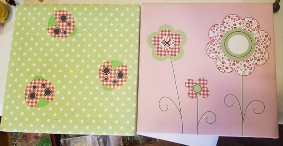 "2 framed canvas prints flowers lady bugs green pink polka dots 9"" x 9"" kids room nursery room art"