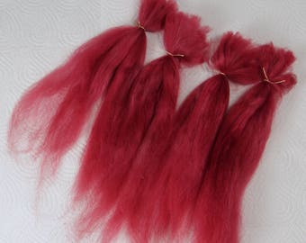 "Suri Alpaca Doll Hair dyed and combed locks, russet red, Batik, 7- 10"" for reroot and BJD doll wigmaking"