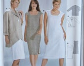 BURDA 8319 Easy Sewing Pattern Misses' Sleeveless Sheath Dress Loose Fitting Jacket with Button and Pocket UNCUT Factory Folds Sizes 10-24