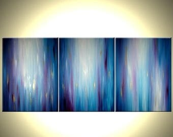 Abstract Blue Painting, Original Purple Art, Large Modern Abstract, Gold Contemporary PAINTING - 24x54 Lafferty, 22% Off
