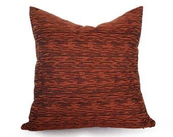 Textured Copper Pillow, Rust Throw Pillow Cover, Contemporary Burnt Orange Pillow, Rust Cushion Cover, Fall Home Decor, 18x18, NEW