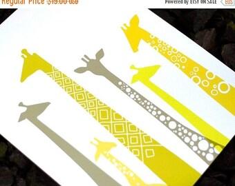 "SUMMER SALE 8X10"" modern giraffe silhouettes giclee print on fine art paper. chartreuse, gray, yellow. portrait format."