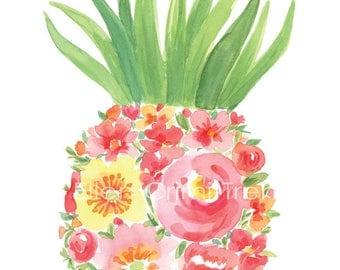 Watercolor Pineapple/pineapple wall art/tropical wall decor/ watercolor flowers/ girls room decor